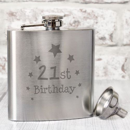 21st Birthday Hip Flask - Stainless Steel 6oz hipflask gift for 21st